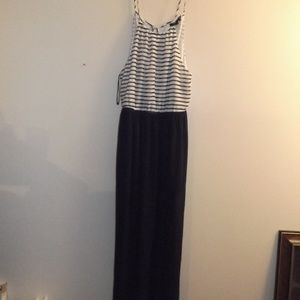 Forever 21 Navy Blue Striped Maxi Dress M